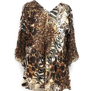 Women's Printed Embellished Plus Size Tunic Top